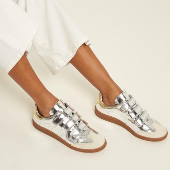 5ba54ab382 Isabel Marant Shoes - Isabel Marant Beth Metallic Leather Sneakers